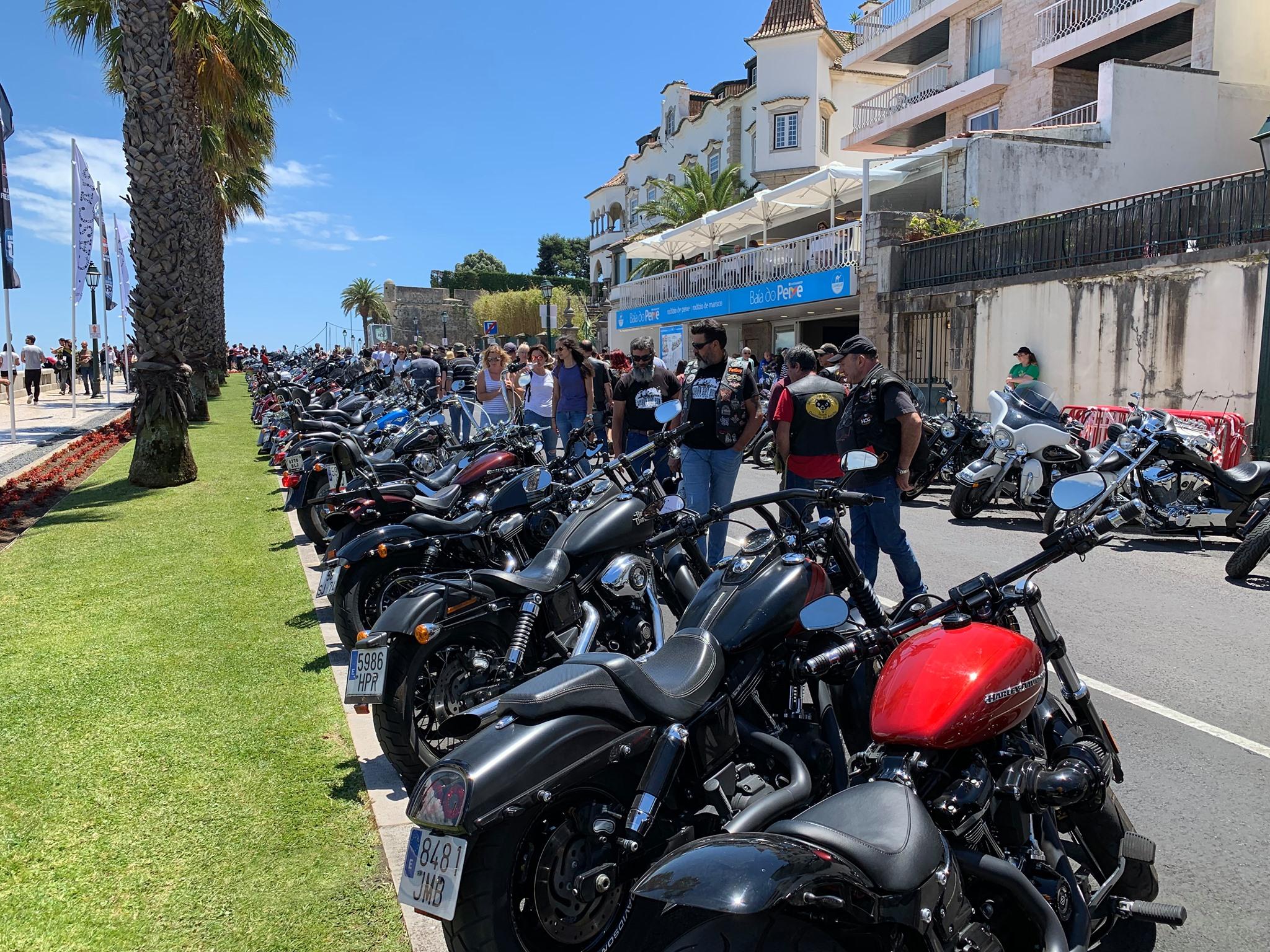 Filas de motos H-D aparcadas en el europeo de Cascais
